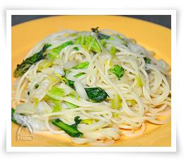 白菜と春菊のクリームパスタ