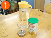 用意するものは、エコミル・お水・ティースプーン・グラスのみ